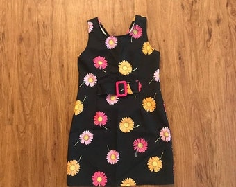 SHOP SALE Vintage 90s Black Daisy Buckle Mini Tank Dress