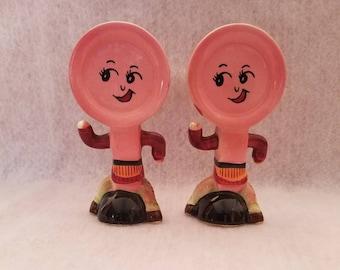 Vintage Anthropomorphic Pink handpainted Salt & Pepper Shakers