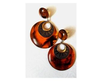 Carite resin dangle hoop earrings   vintage hoop earrings   large statement earrings