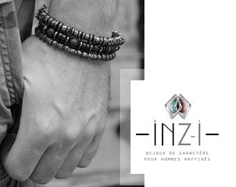 Pyrite and hematite 8mm INZ - I - bracelet model BRICE