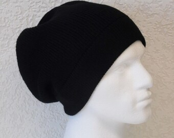 Black men's hat, slouch beanie for men, black beanie, men's beanie, black slouch hat, knitted from acrylic yarn, many colours available