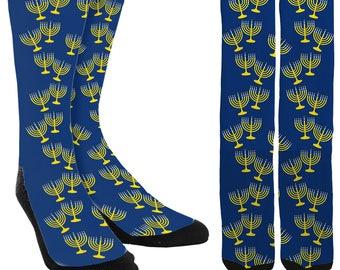 Hanukkah Menorah Crew Socks - Hanukkah Socks - Menorah Socks - Crazy Holiday Socks - Chanukah Socks - 100% Comfort - FREE Shipping C63