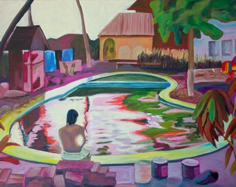 Oil painting abstract -Swimming pool-