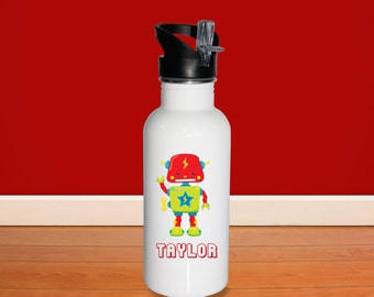 Robot Kids Water Bottle - Toy Robot with Name, Child Personalized Stainless Steel Bottle BPA Free Back to School