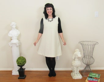 Ivory Mod Maddie A-line Pinafore Jumper Shift Dress in Cotton Twill Custom made