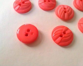 """Buttons 16mm 5/8"""" apricot orange plastic pvc 10pcs"""