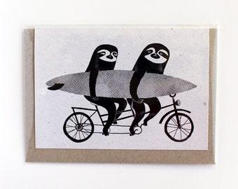 Tandem sloths card, bicycle, cycling sloth greeting card