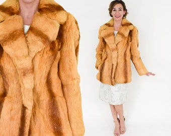 70s Rabbit Fur Coat   Striped Golden Fur Jacket   Kamal NY LA   Medium Large