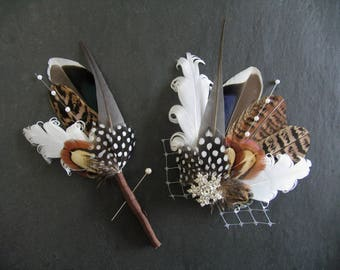 "White Brown Blue Mallard Pheasant Feathers Fascinator Hair Clip + Boutonniere Lapel Pin ""Paige"" Bridal Wedding Rustic Hygge Woodland SET"