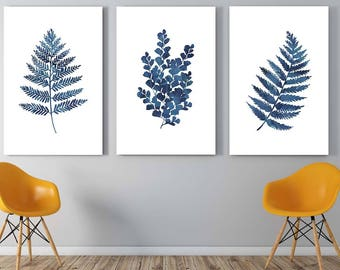 Ink blue fern prints | Printable art | Set of three indigo fern leaf prints | watercolor leaf botanical illustration | Instant download