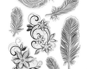 Forever in Time Clear Cling Rubber Stamp Feathers and Flowers