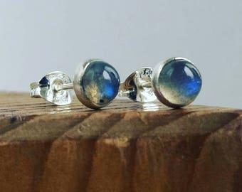 Silver stud earrings, Labradorite 5 mm studs Sterling Silver
