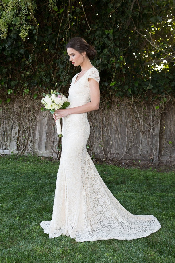 Bohemian wedding dress stretch lace gown with train bohemian wedding dress stretch lace gown with train panelled patchwork construction ivory or white bohemian dress short sleeves junglespirit Images