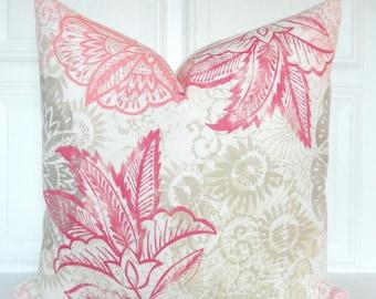 Pink Pillow Cover - Decorative Pillow - Pink Tan Beige Pillow - Floral Pillow - Tan Throw Pillow - Couch Pillow - Lumbar - Beige Pillow