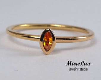 14K Rose Gold Plated Silver Marquise Spessartine Garnet Ring, Stacking Orange Cubic Zirconia Ring Orange CZ Marquise Gold Plated Silver Ring