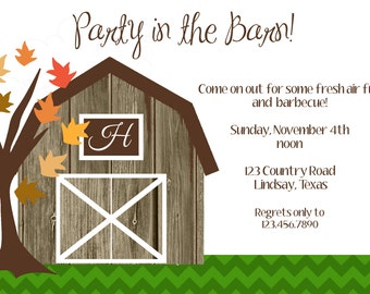 party in the barn invitation