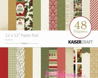 "Set of 48 leaves theme ""Yuletide"" KaiserCraft's 30 X 30 cm scrapbooking (ref.210) *."