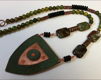 Maine State House Copper Roof Necklace with Jasper beads - Limited Edition AR