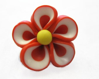 Candy Apple Red Polymer Clay Flowers 20mm Beads Set of 4 (H06)