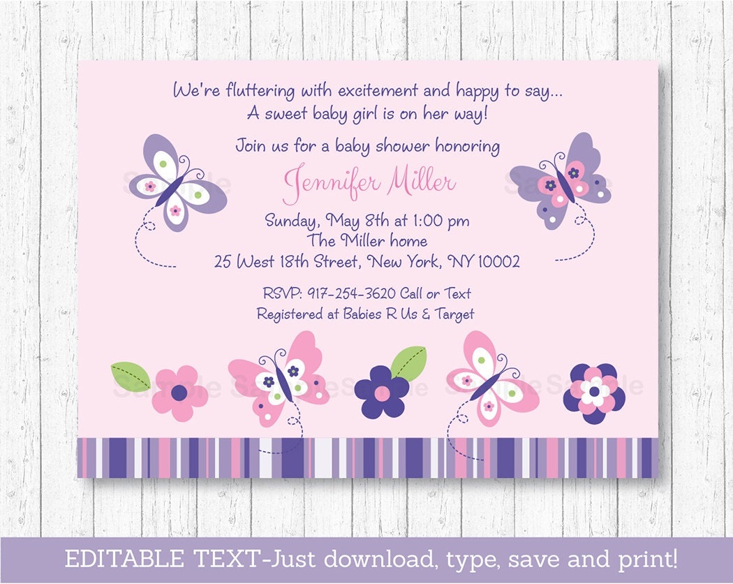 Butterfly Baby Shower Invitation / Butterfly Baby Shower /