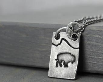 Bison Necklace, Mountain Range Necklace, Bison Jewelry, Mountains Necklace, Tetons Necklace, Wyoming Jewelry, Hand Stamped Jewelry