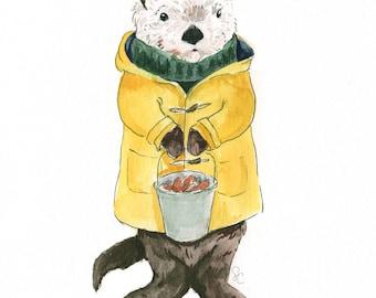Sea Otter print, sea otter gifts, sea otter art, Sea otter watercolor, sea otter painting, otter gifts