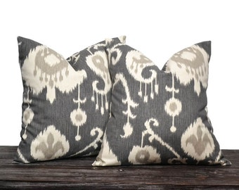 Ikat Pillow Covers - Charcoal Gray Ikat Pillow Set - ANY SIZE - Farmhouse Pillow - Charcoal Gray, Cream and Light Grey - 2 Pillow Covers
