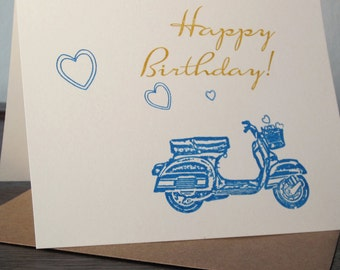 Scooter and Hearts - Gocco Screen-Printed Birthday Card