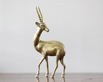 Vintage Brass Antelope Figurine, 11.75 inch Antelope, Solid Brass Figurine, Impala, Gazelle