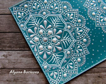 READY TO SHIP / Passport cover, leather passport holder, leather case, Monochrome pattern, turquoise cover, Mandalas