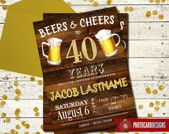 40th Birthday Invitation | Beers and Cheers Birthday Invitation | Digital | Party | Invitation | 40th | Over the Hill | Beer | Invite