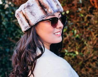 Grey Mottled Faux Fur Hat