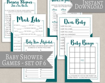 Baby Shower printable games set of 6, teal design, green baby shower entertainment ideas, modern babyshower games, baby mad libs, baby bingo