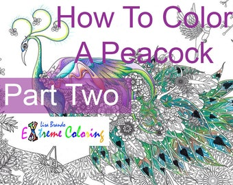 How To Color A Peacock PART TWO - Colored Pencils   Color By Numbers   Lisa Brando Extreme Coloring Prismacolor