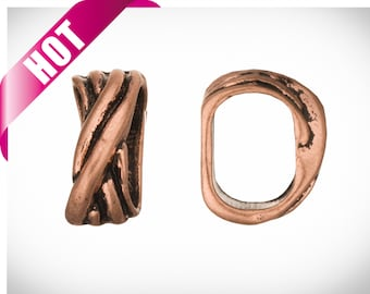 4pcs 4Pcs Crossed Rope Design Licorice Leather Charms Fits Licorice Leather Cord Antique Copper Plated 11X13mm