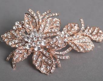 Rose Gold Rhinestone Headpiece, Rose Gold Flower Bridal Hair Clip - Cherie