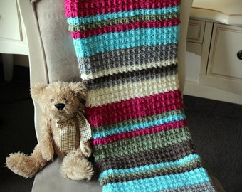 Download Now - CROCHET PATTERN Candy Stripes Blanket - Make to Any Size - Pattern PDF