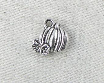 1 or 12, Pumpkin, Pumpkin Charms, Harvest Pumpkin, Pumpkins, Autumn Charms, Fall Charms, Harvest, Thanksgiving, Silver Pumpkin, FOD023
