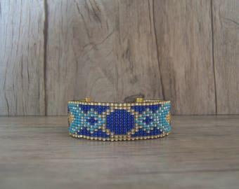Woven bracelet pattern geometric Aztec blue Sapphire and Turquoise