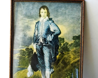 Colonial art. Vintage 20s  print of Blue Boy ( Tomas Gainsborough- 1770s) with the original frame. Made by Colombian Colortype Co, Chicago.