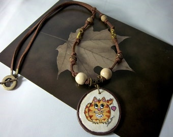 Cat Necklace, Orange Tabby,  Hand-Painted, Funny Fat Cat, Polymer Clay, Knotted Leather Cord