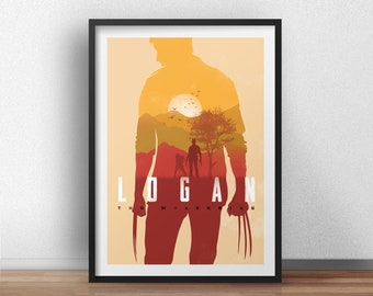 Logan wolverine movie poster inspired. Superhero wallart print. Available in different sizes. Check the drop-down menu for your choice.