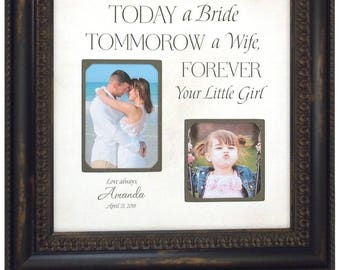 Wedding Gift for Father of the Bride, Wedding Photo Frame, Today A Bride, Personalized Photo Frame, 16x16