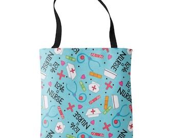 "Love a Nurse Whimsy Art 16"" x 16"" Turquoise Blue Tote Bag, Nursing Accessories, Nurse Gift, Nurse Carry All, Nurse Design Print, Medical Bag"