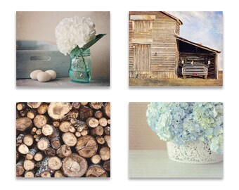 Rustic Farmhouse Wall Art, Farmhouse Wall Decor, SET of FOUR Prints or Canvases, Blue and Brown Wall Art, Hydrangea Photo, Rustic Decor