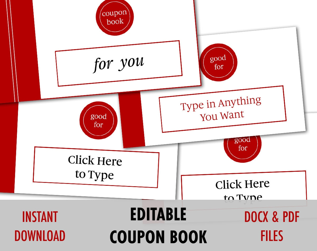 Valentines Day Gift for Him, EDITABLE Love Coupon, Love coupon book ...