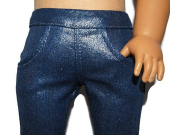 "Silver Coated Stretch Denim Skinny Jeans - Doll Clothes fits 18"" American Girl Dolls"