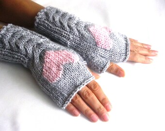 Gray Fingerless Wool Gloves with a pink heart, Mittens, Arm Warmers , Hand Knitted, Eco Friendly, Valentines Day