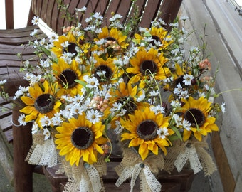 Rustic Sunflower Burlap And Lace Small Table Arrangements Country Wedding Flowers Decor