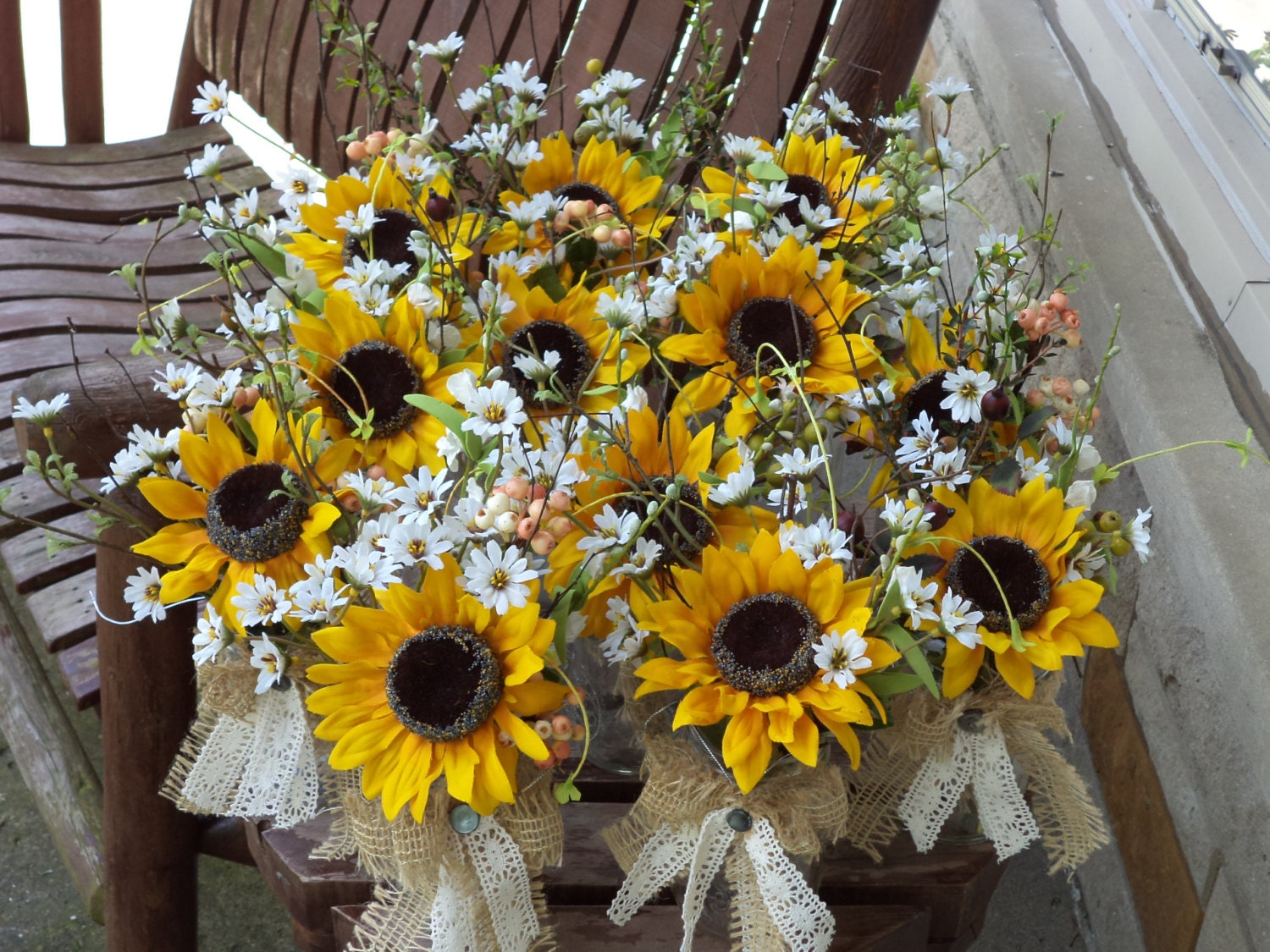 rustic sunflower burlap and lace small table arrangements. Black Bedroom Furniture Sets. Home Design Ideas